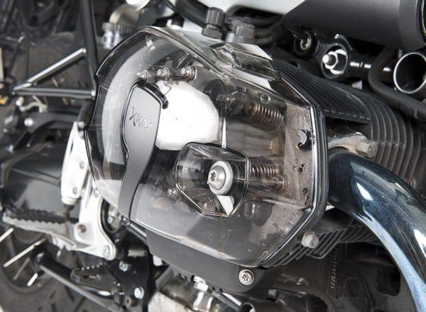 Set coperchi valvole trasparenti XRay per motori Boxer BMW - visione frontale cover destra