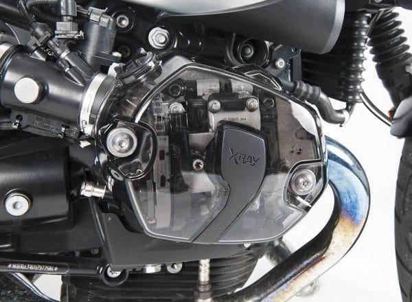 Set coperchi valvole trasparenti XRay per motori Boxer BMW - visione laterale cover destra