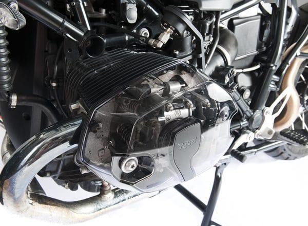 Set coperchi valvole trasparenti XRay per motori Boxer BMW - visione da sopra cover sinistra
