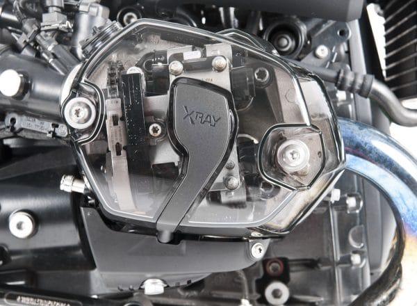 Set coperchi valvole trasparenti XRay per motori Boxer BMW - prospetto laterale cover destra