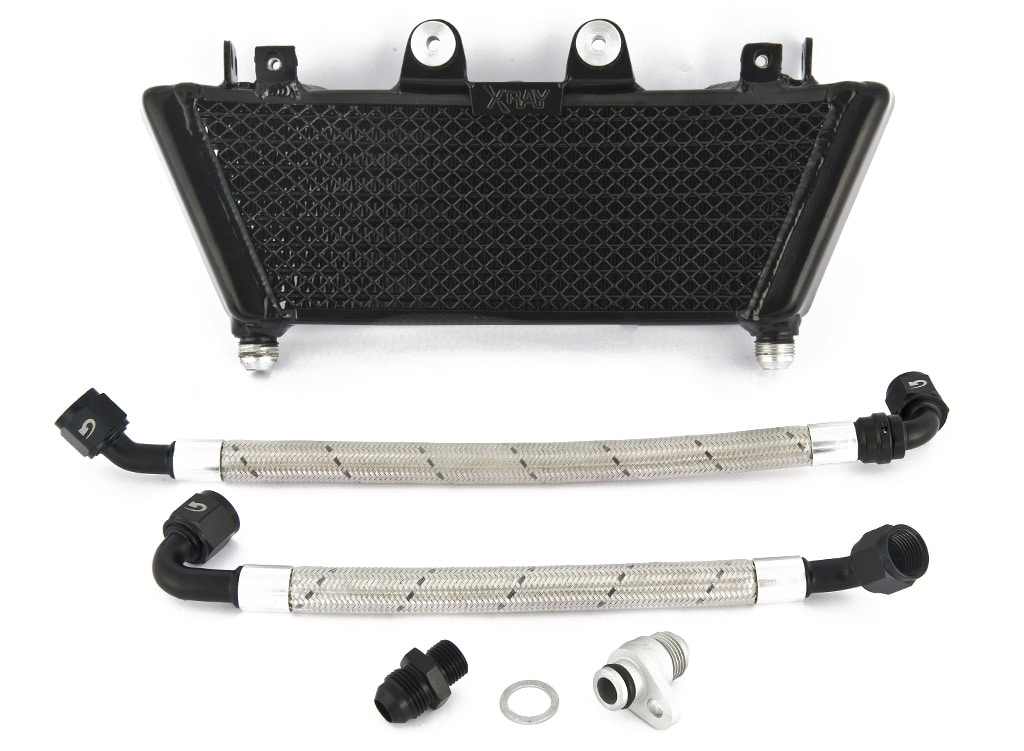 XRay Big Oil Cooler Kit for BMW R nineT Family - black - unboxed view